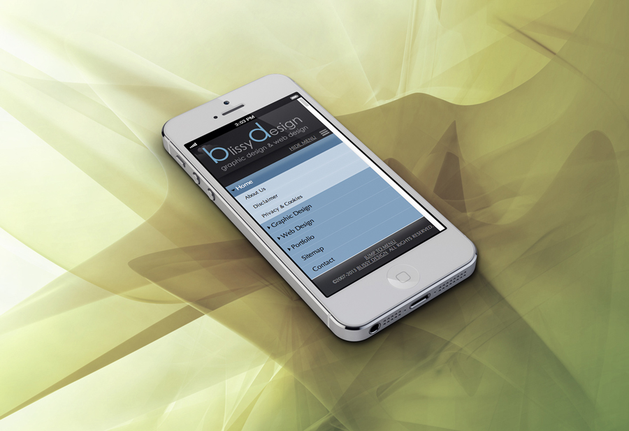 iPhone with Blissy Design website